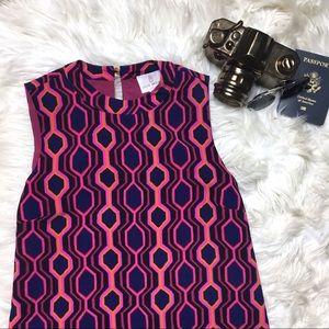 JULIE BROWN Retro Purple Polygon Sleeveless Dress